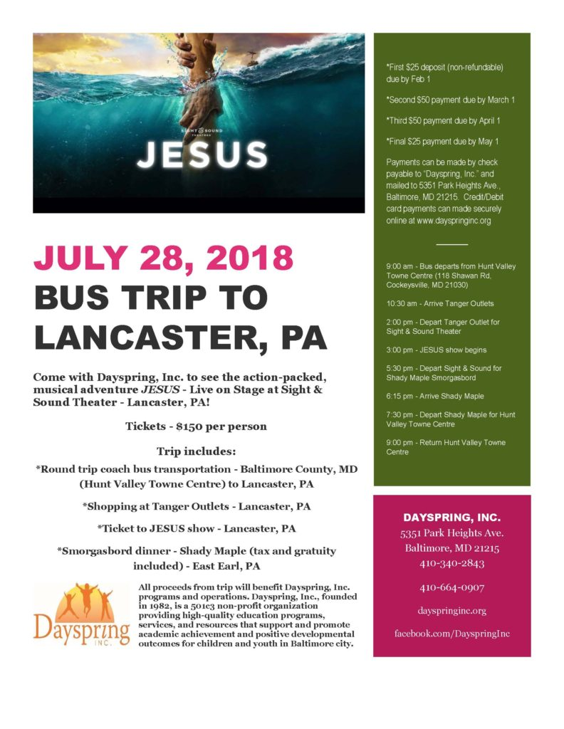 Come with Dayspring, Inc. to see JESUS! @ Sight & Sound Theatres | Ronks | Pennsylvania | United States
