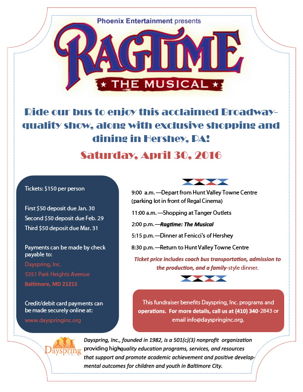 Come with Dayspring, Inc. to see RAGTIME the Musical! @ RAGTIME the Musical | Hershey | Pennsylvania | United States